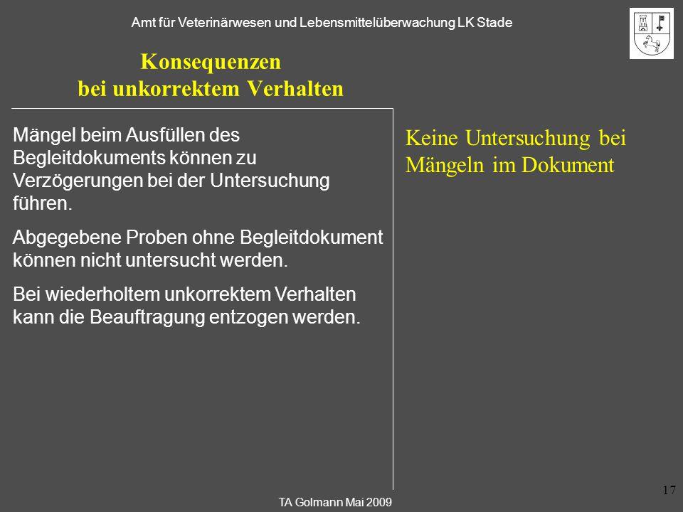 TA Golmann Mai 2009 Amt für Veterinärwesen und Lebensmittelüberwachung LK Stade 17 Konsequenzen bei unkorrektem Verhalten Keine Untersuchung bei Mänge