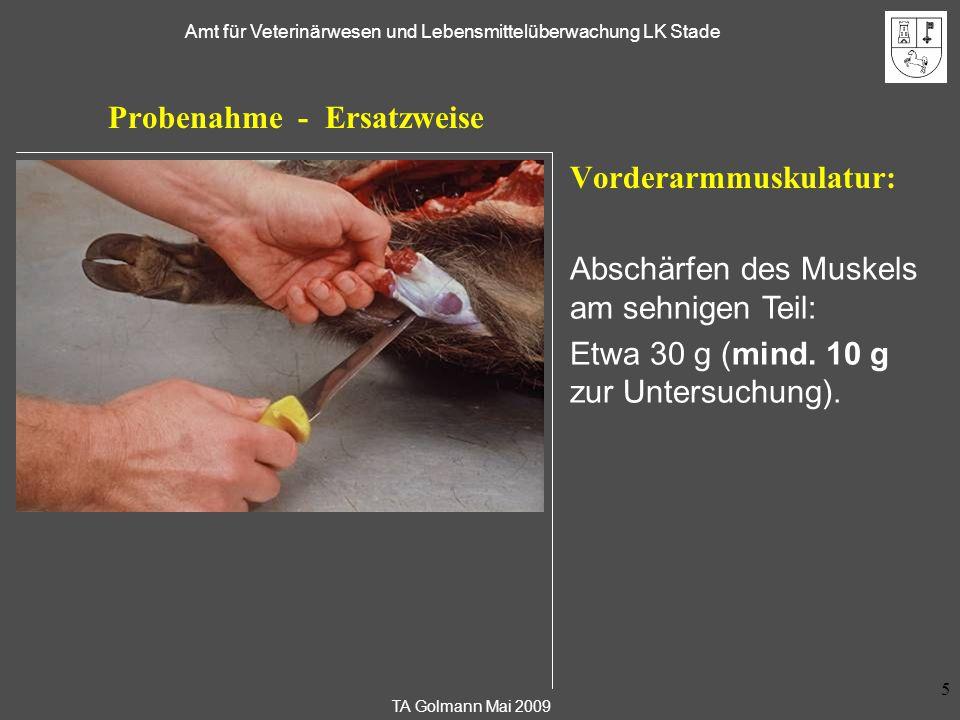 TA Golmann Mai 2009 Amt für Veterinärwesen und Lebensmittelüberwachung LK Stade 6 Probenahme - Ersatzweise Als Ersatzprobe können weiterhin verwendet werden ( mind.