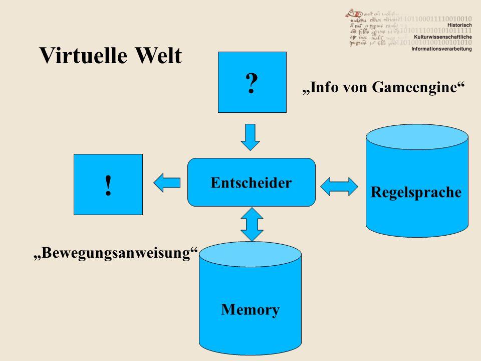 """Virtuelle Welt Entscheider Regelsprache Memory ! """"Info von Gameengine """"Bewegungsanweisung"""