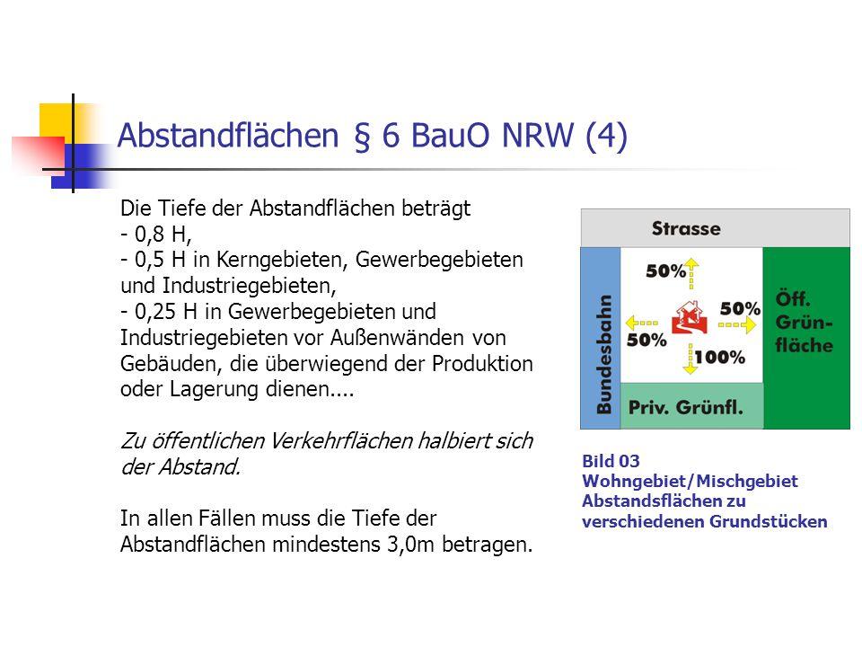 Abstandflächen § 6 BauO NRW (4) Die Tiefe der Abstandflächen beträgt - 0,8 H, - 0,5 H in Kerngebieten, Gewerbegebieten und Industriegebieten, - 0,25 H