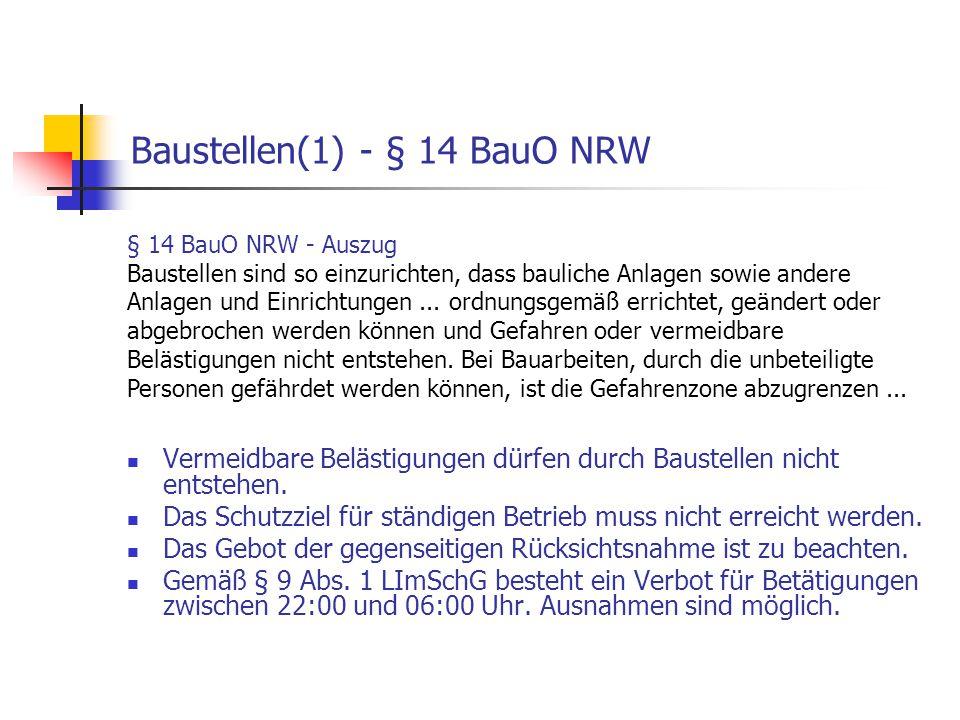 Baustellen(1) - § 14 BauO NRW Vermeidbare Belästigungen dürfen durch Baustellen nicht entstehen. Das Schutzziel für ständigen Betrieb muss nicht errei