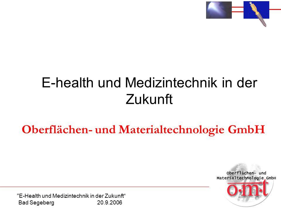E-Health und Medizintechnik in der Zukunft Bad Segeberg 20.9.2006 E-health und Medizintechnik in der Zukunft Oberflächen- und Materialtechnologie GmbH