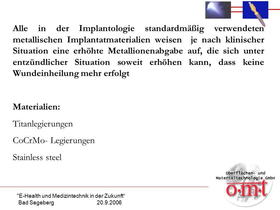 """E-Health und Medizintechnik in der Zukunft Bad Segeberg 20.9.2006 Klinische Untersuchung Stent """"stainless steel mit cerid nano Ta"""