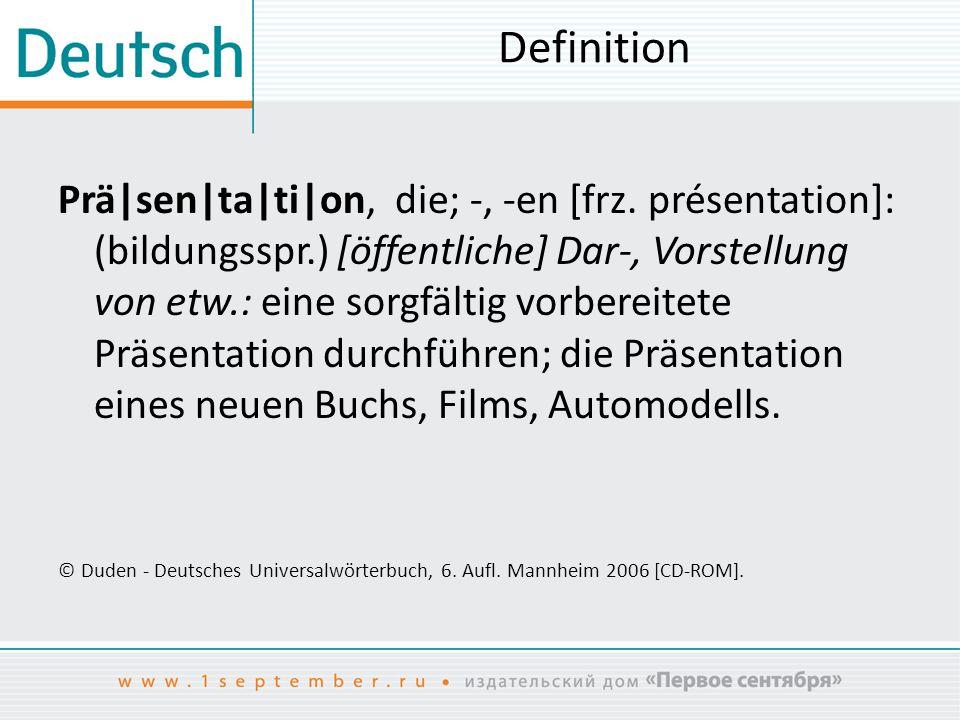 Funktionen der Präsentationen kommunikative informierende anschauliche überzeugende / beeinflussende / manipulatorische ästhetische zeitsparende «Lotsenfunktion»