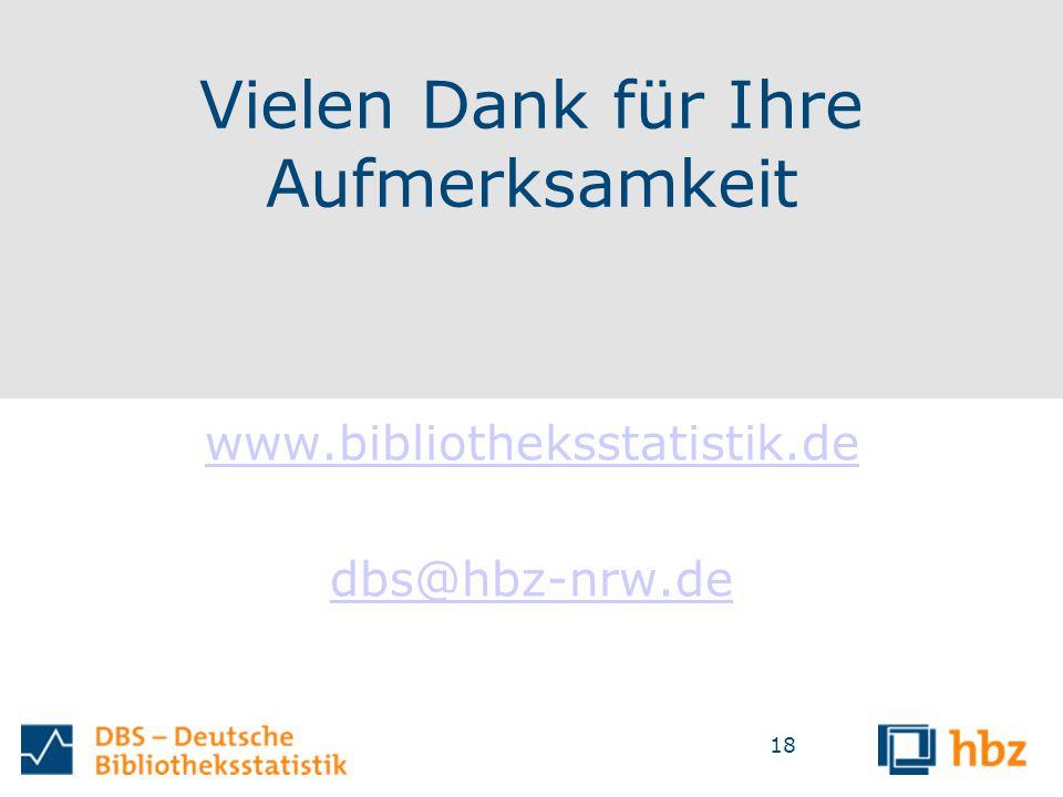 Vielen Dank für Ihre Aufmerksamkeit www.bibliotheksstatistik.de dbs@hbz-nrw.de 18