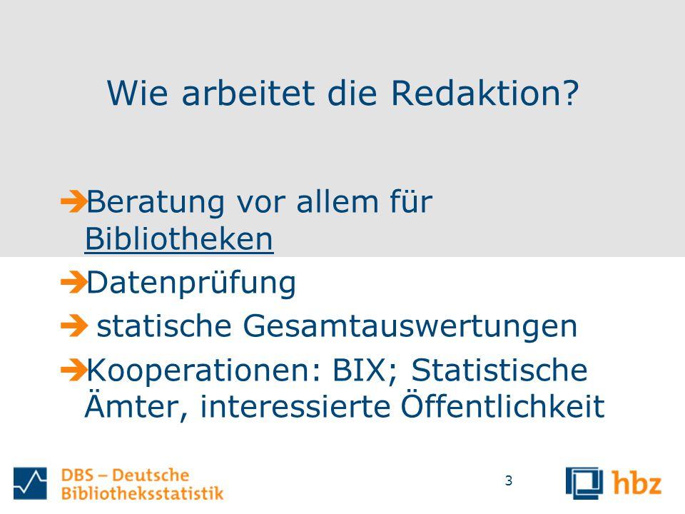 Wie arbeitet die Redaktion?  Beratung vor allem für Bibliotheken  Datenprüfung  statische Gesamtauswertungen  Kooperationen: BIX; Statistische Ämt