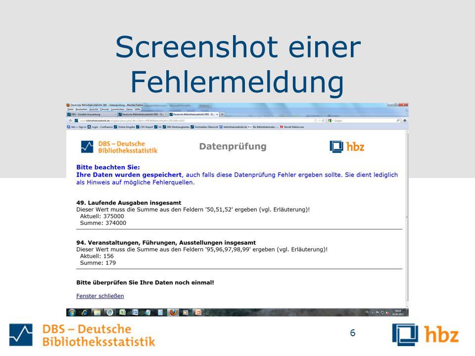 Screenshot einer Fehlermeldung 6
