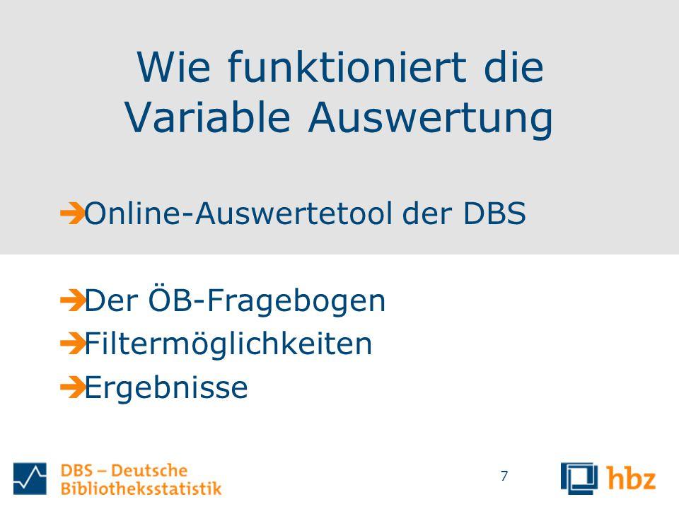 Wie funktioniert die Variable Auswertung  Online-Auswertetool der DBS  Der ÖB-Fragebogen  Filtermöglichkeiten  Ergebnisse 7
