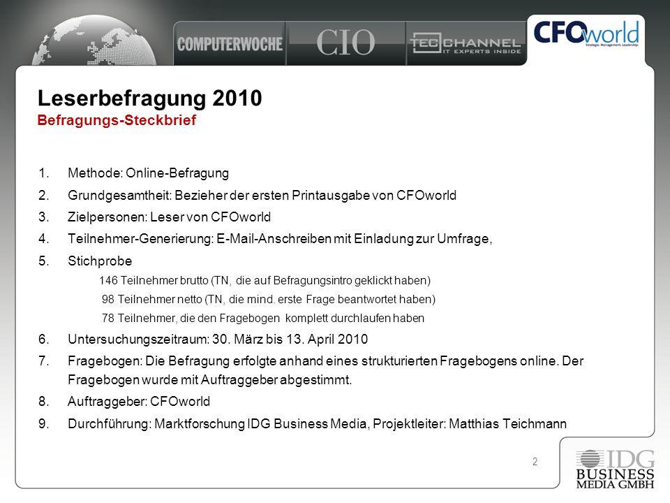 2 Leserbefragung 2010 Befragungs-Steckbrief 1.Methode: Online-Befragung 2.Grundgesamtheit: Bezieher der ersten Printausgabe von CFOworld 3.Zielpersone