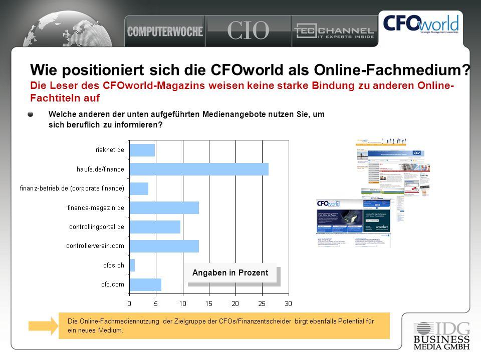7 Wie positioniert sich die CFOworld als Online-Fachmedium? Die Leser des CFOworld-Magazins weisen keine starke Bindung zu anderen Online- Fachtiteln