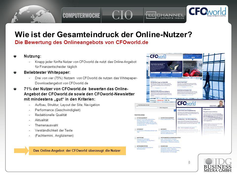 8 Nutzung: -Knapp jeder fünfte Nutzer von CFOworld.de nutzt das Online-Angebot für Finanzentscheider täglich Beliebtester Whitepaper: -Drei von vier (