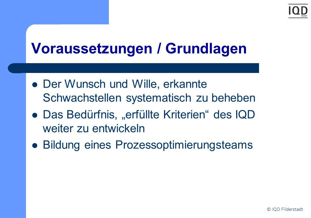 """© IQD Filderstadt Voraussetzungen / Grundlagen Der Wunsch und Wille, erkannte Schwachstellen systematisch zu beheben Das Bedürfnis, """"erfüllte Kriterien des IQD weiter zu entwickeln Bildung eines Prozessoptimierungsteams"""