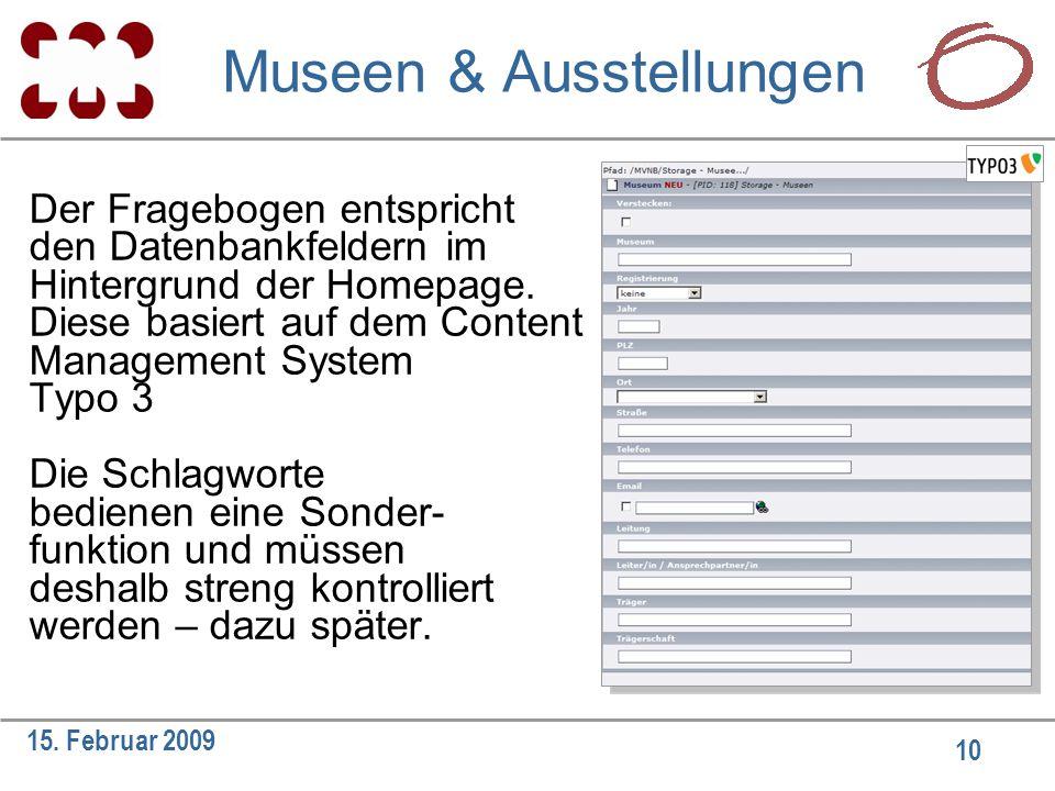 10 15. Februar 2009 Der Fragebogen entspricht den Datenbankfeldern im Hintergrund der Homepage. Diese basiert auf dem Content Management System Typo 3