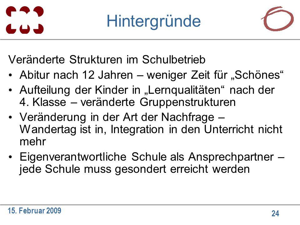 """24 15. Februar 2009 Hintergründe Veränderte Strukturen im Schulbetrieb Abitur nach 12 Jahren – weniger Zeit für """"Schönes"""" Aufteilung der Kinder in """"Le"""