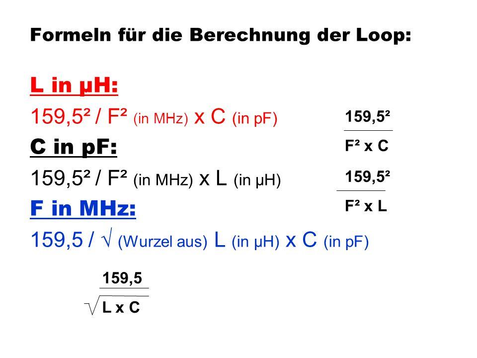 Formeln für die Berechnung der Loop: L in µH: 159,5² / F² (in MHz) x C (in pF) C in pF: 159,5² / F² (in MHz) x L (in µH) F in MHz: 159,5 / √ (Wurzel a