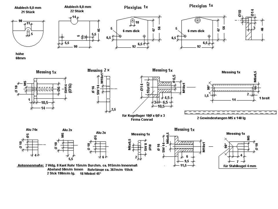 Tipp Beim Zusammenbau des Drehkondensators hat sich heraus- gestellt, dass die beiden Gewindestangen zu schwach waren, um die Deckplatten in Position zu halten.