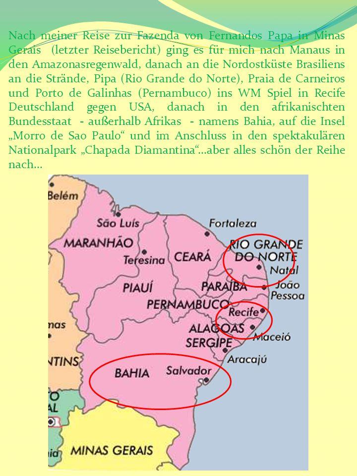 Bahia: Salvador – Morro de Sao Paulo Um kurz vor Mitternacht kam ich im Hostel in Salvador de Bahia an, um dann vom Rezeptionisten zu erfahren, dass das ganze Hotels nur mit männlichen Gästen belegt ist und ich mir den 7er- Dorm, der winzigklein und zugepackt mit Stockbetten war – mit 6 Männern teilen muss.