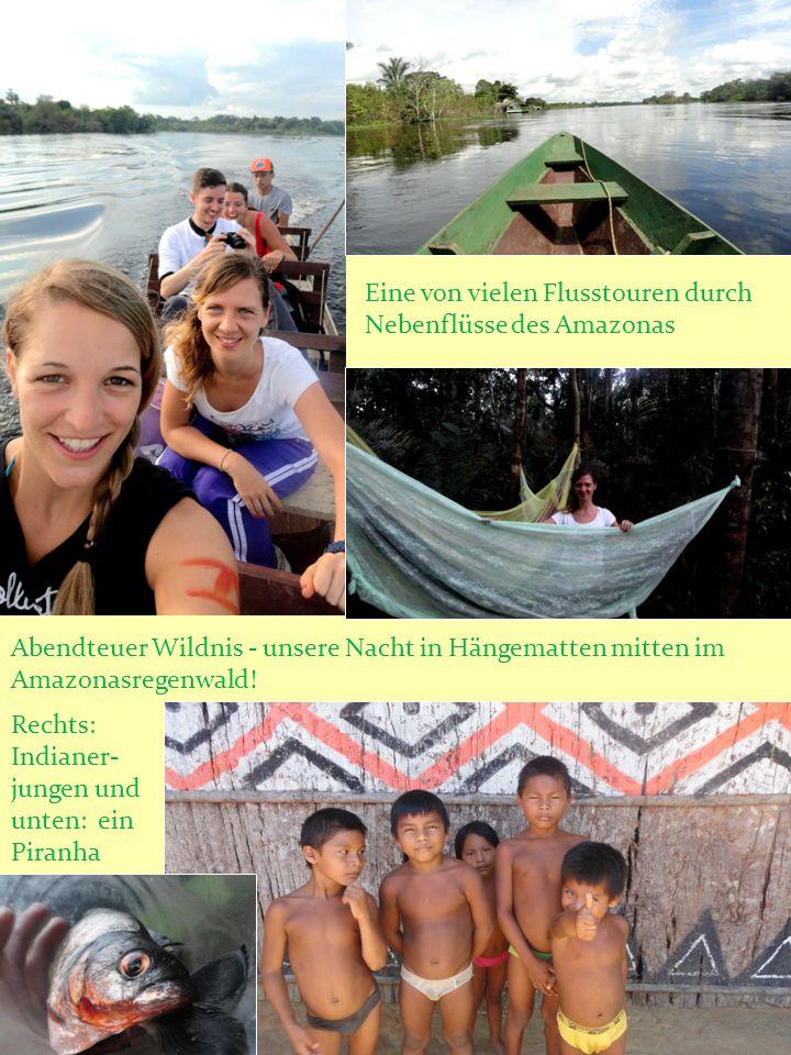 Wasserspiegelung auf dem ruhigen Nebenarm des Amazonas Fussballfieber im Amazonas- stadium in Manaus mit Luciana: England : Italien Riesenwasserlilien Indianer- mädchen und ich Sonnenaufgang
