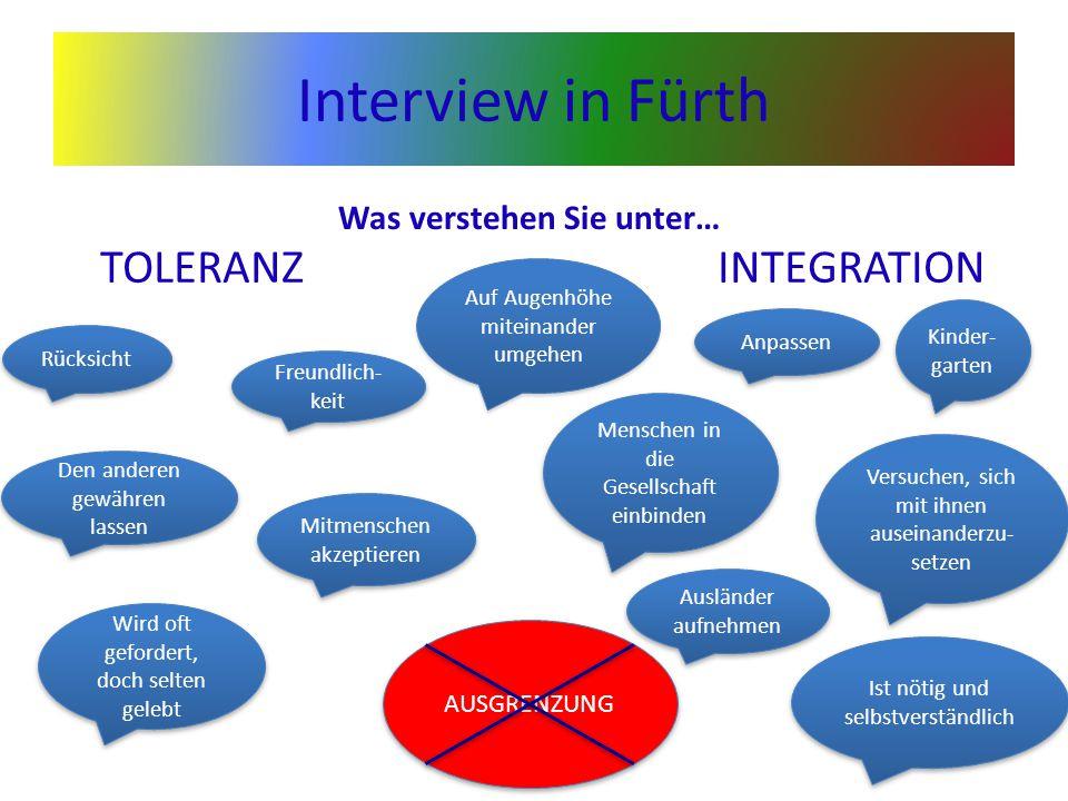 Interview in Fürth TOLERANZINTEGRATION Rücksicht Mitmenschen akzeptieren Wird oft gefordert, doch selten gelebt Den anderen gewähren lassen Freundlich