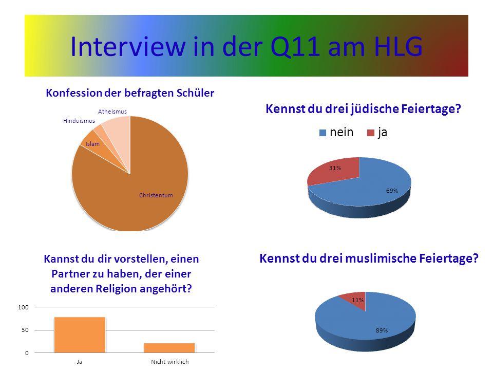 Interview in der Q11 am HLG Kennst du drei muslimische Feiertage?