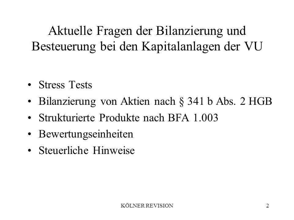 KÖLNER REVISION2 Aktuelle Fragen der Bilanzierung und Besteuerung bei den Kapitalanlagen der VU Stress Tests Bilanzierung von Aktien nach § 341 b Abs.