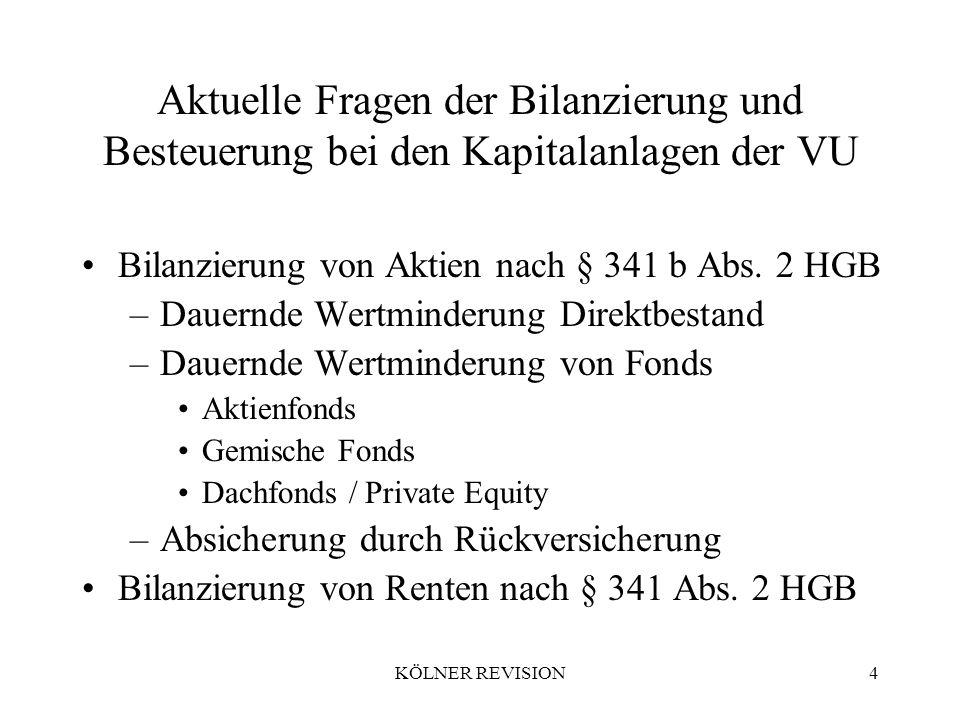 KÖLNER REVISION4 Aktuelle Fragen der Bilanzierung und Besteuerung bei den Kapitalanlagen der VU Bilanzierung von Aktien nach § 341 b Abs.