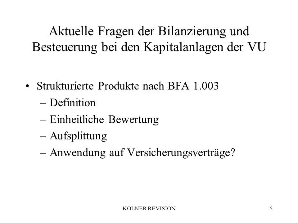 KÖLNER REVISION5 Aktuelle Fragen der Bilanzierung und Besteuerung bei den Kapitalanlagen der VU Strukturierte Produkte nach BFA 1.003 –Definition –Einheitliche Bewertung –Aufsplittung –Anwendung auf Versicherungsverträge