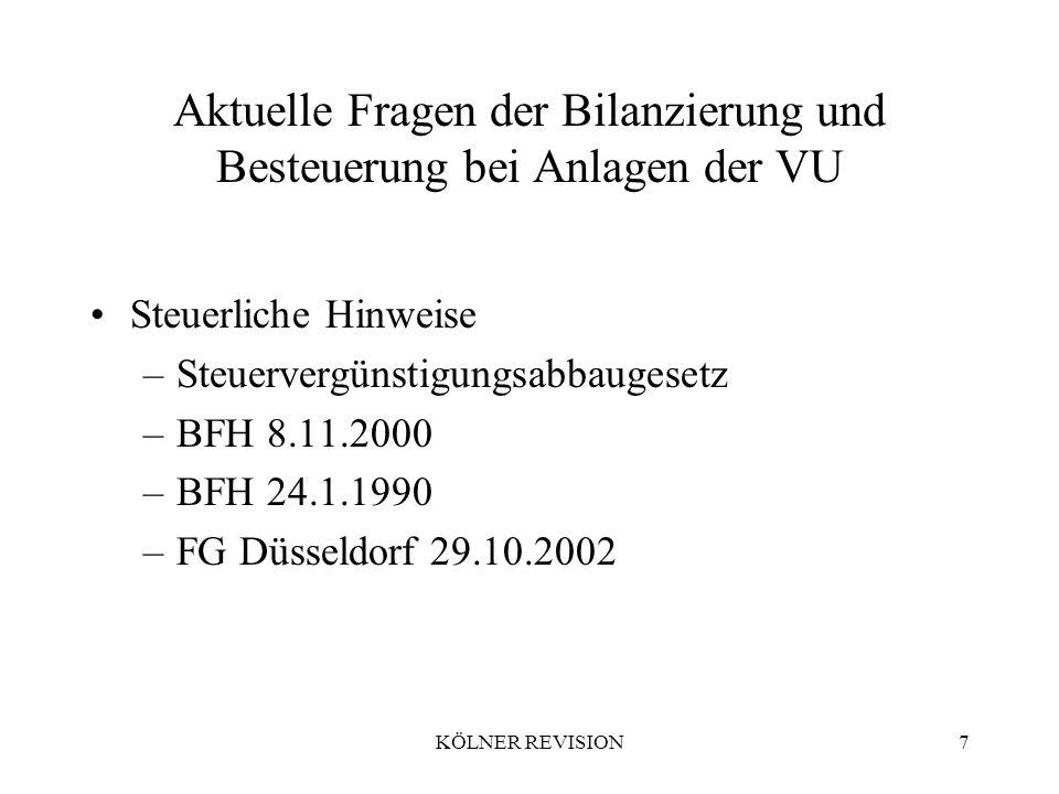 KÖLNER REVISION7 Aktuelle Fragen der Bilanzierung und Besteuerung bei Anlagen der VU Steuerliche Hinweise –Steuervergünstigungsabbaugesetz –BFH 8.11.2000 –BFH 24.1.1990 –FG Düsseldorf 29.10.2002