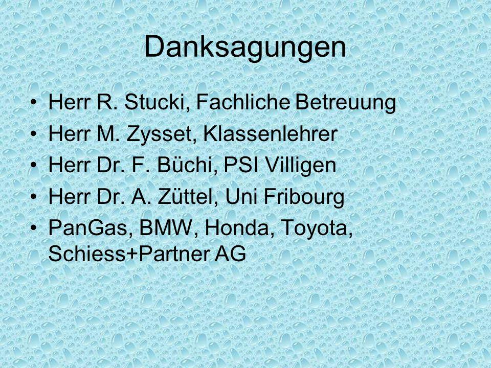 Danksagungen Herr R. Stucki, Fachliche Betreuung Herr M. Zysset, Klassenlehrer Herr Dr. F. Büchi, PSI Villigen Herr Dr. A. Züttel, Uni Fribourg PanGas