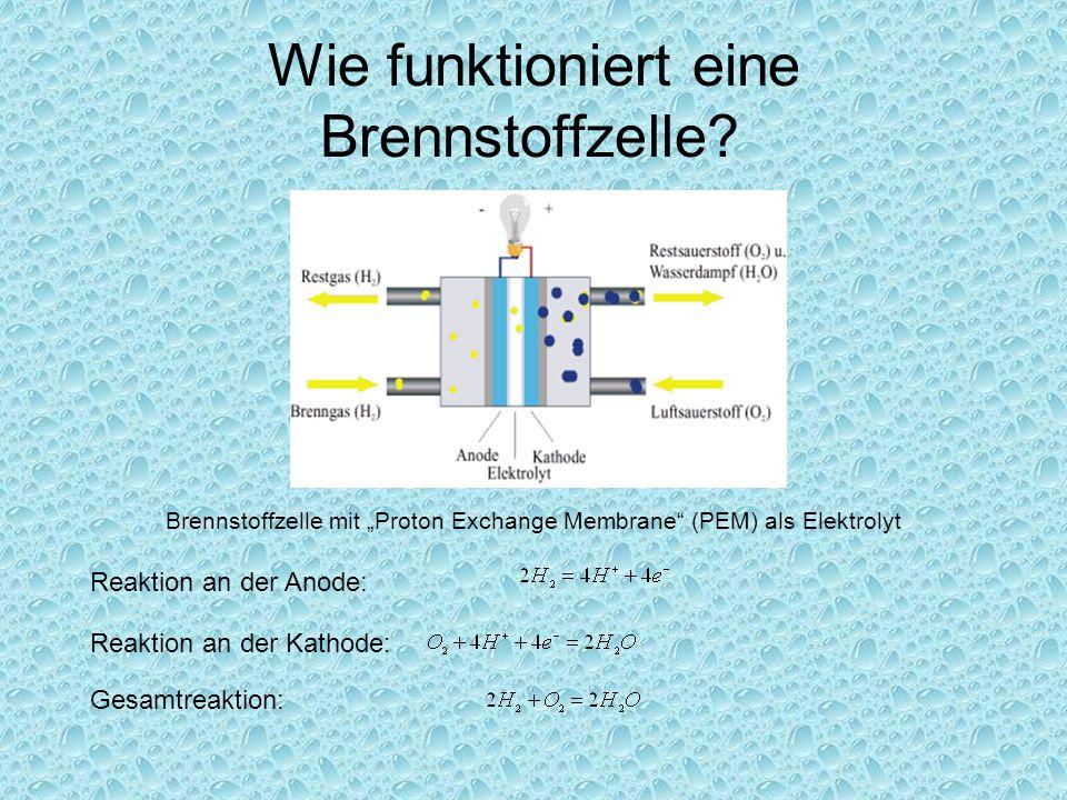 """Wie funktioniert eine Brennstoffzelle? Brennstoffzelle mit """"Proton Exchange Membrane"""" (PEM) als Elektrolyt Reaktion an der Anode: Reaktion an der Kath"""