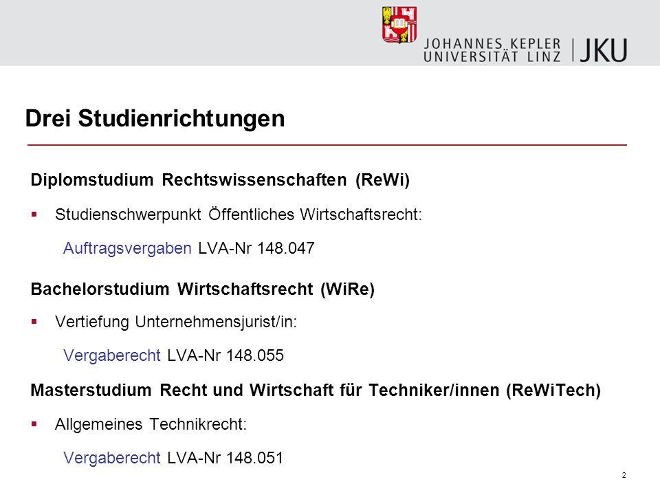 2 Drei Studienrichtungen Diplomstudium Rechtswissenschaften (ReWi)  Studienschwerpunkt Öffentliches Wirtschaftsrecht: Auftragsvergaben LVA-Nr 148.047