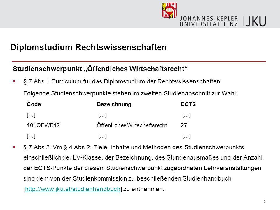 """3 Diplomstudium Rechtswissenschaften Studienschwerpunkt """"Öffentliches Wirtschaftsrecht""""  § 7 Abs 1 Curriculum für das Diplomstudium der Rechtswissens"""