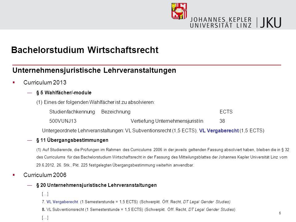 5 Bachelorstudium Wirtschaftsrecht Unternehmensjuristische Lehrveranstaltungen  Curriculum 2013 —§ 5 Wahlfächer/-module (1) Eines der folgenden Wahlf