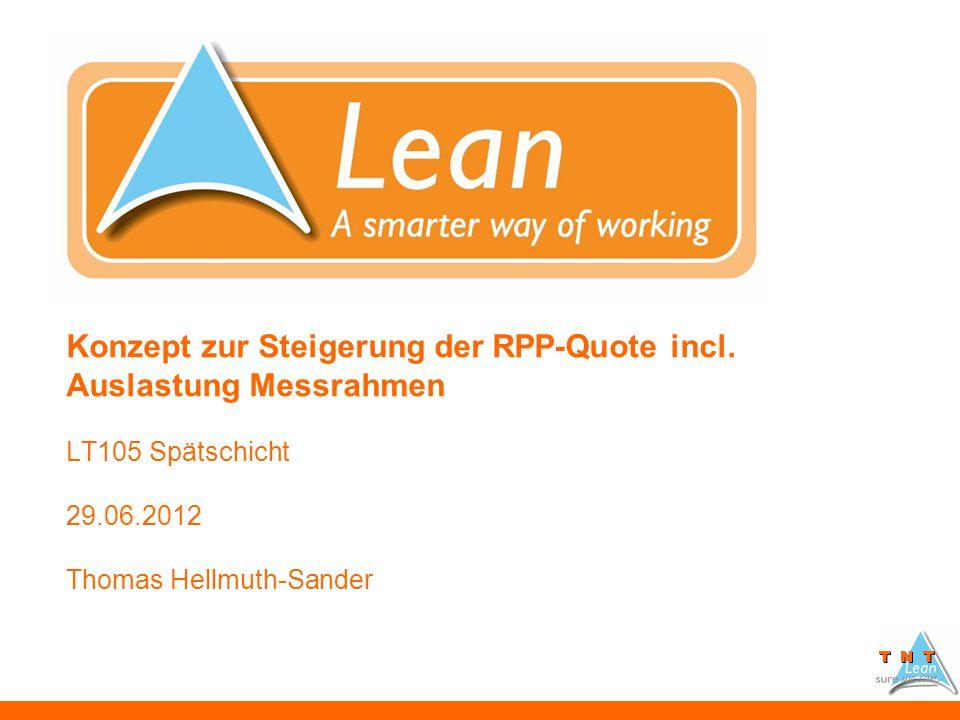 Konzept zur Steigerung der RPP-Quote incl. Auslastung Messrahmen LT105 Spätschicht 29.06.2012 Thomas Hellmuth-Sander