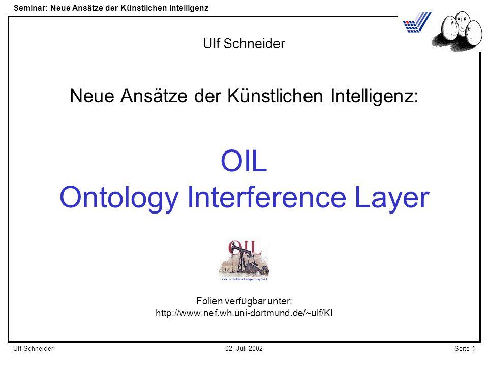 Seminar: Neue Ansätze der Künstlichen Intelligenz Seite 1Ulf Schneider02.