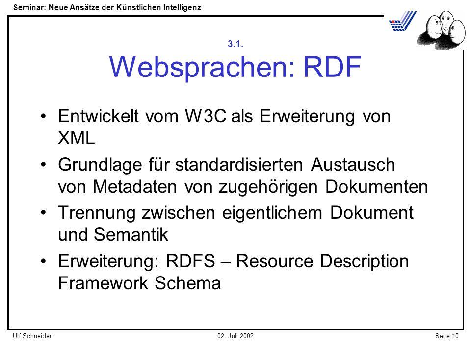 Seminar: Neue Ansätze der Künstlichen Intelligenz Seite 10Ulf Schneider02.