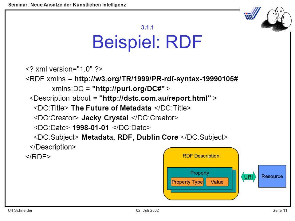 Seminar: Neue Ansätze der Künstlichen Intelligenz Seite 11Ulf Schneider02.