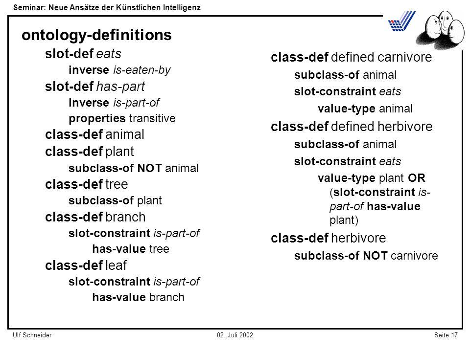 Seminar: Neue Ansätze der Künstlichen Intelligenz Seite 17Ulf Schneider02.