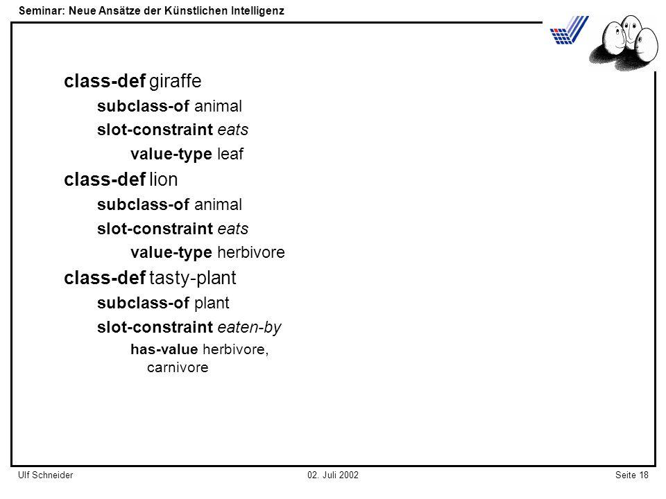 Seminar: Neue Ansätze der Künstlichen Intelligenz Seite 18Ulf Schneider02.