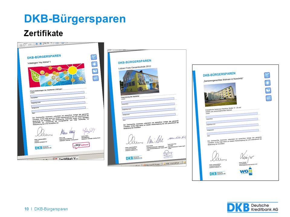 10 I DKB-Bürgersparen DKB-Bürgersparen Zertifikate