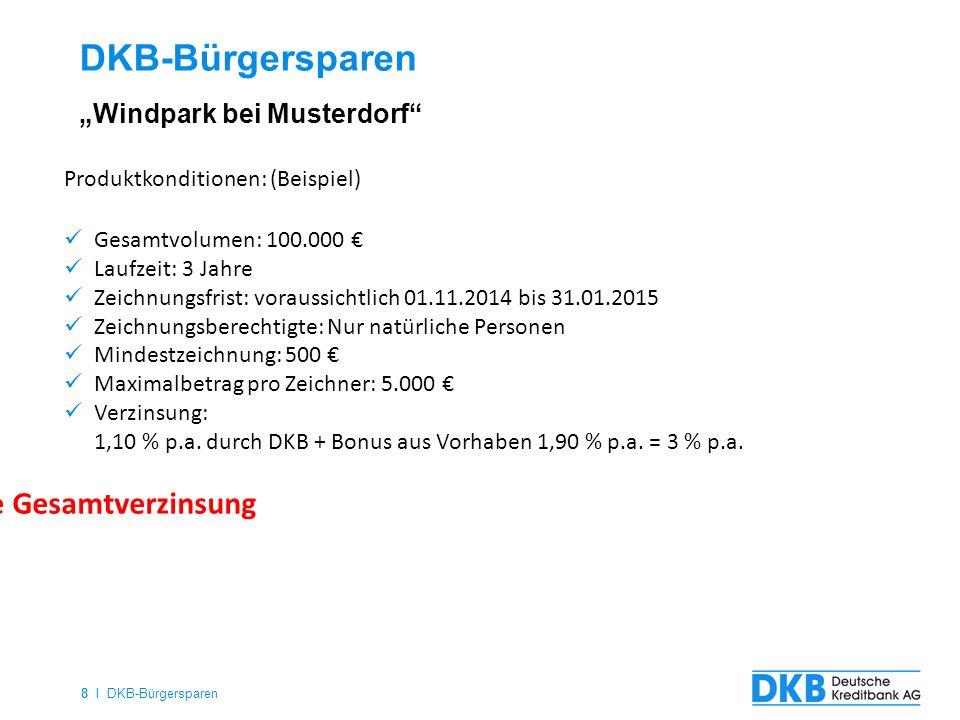 8 I DKB-Bürgersparen DKB-Bürgersparen Produktkonditionen: (Beispiel) Gesamtvolumen: 100.000 € Laufzeit: 3 Jahre Zeichnungsfrist: voraussichtlich 01.11