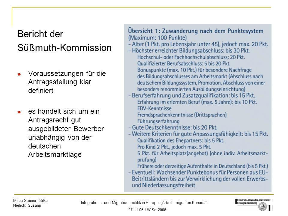 """Mirea-Steiner, Silke Nerlich, Susann Integrations- und Migrationspolitik in Europa: """"Arbeitsmigration Kanada"""" 07.11.06 / WiSe 2006 Bericht der Süßmuth"""