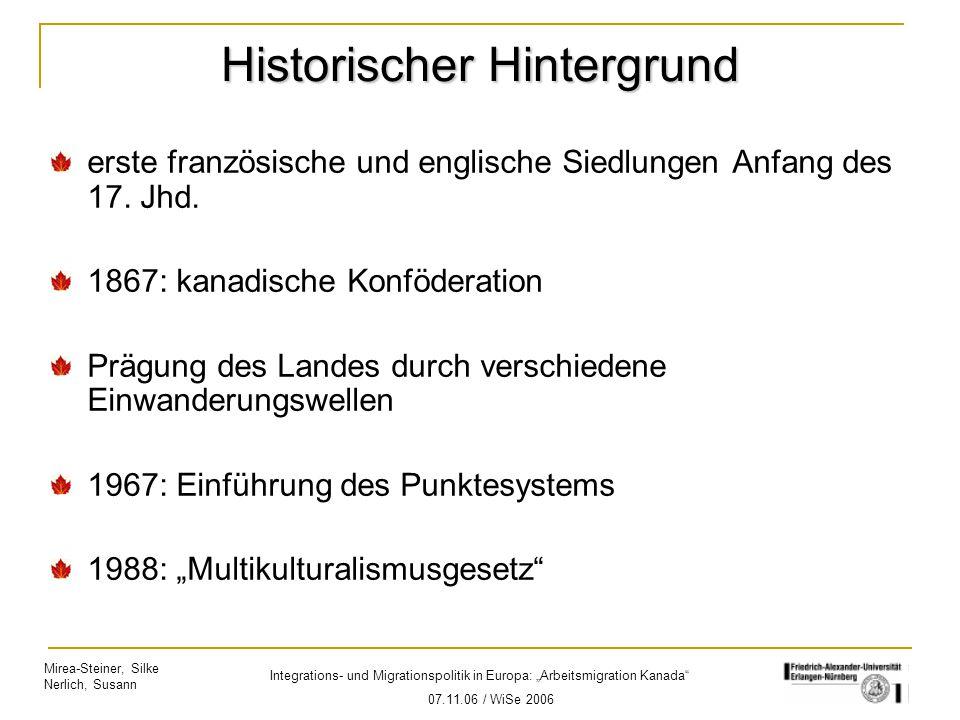"""Mirea-Steiner, Silke Nerlich, Susann Integrations- und Migrationspolitik in Europa: """"Arbeitsmigration Kanada"""" 07.11.06 / WiSe 2006 Historischer Hinter"""