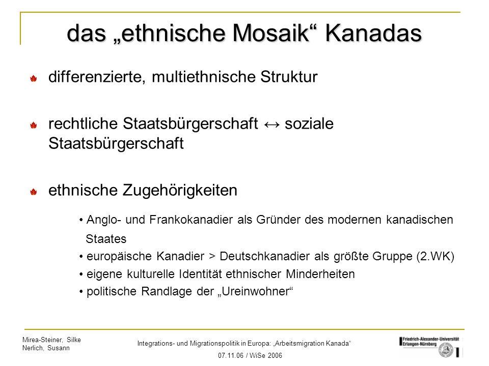 """Mirea-Steiner, Silke Nerlich, Susann Integrations- und Migrationspolitik in Europa: """"Arbeitsmigration Kanada"""" 07.11.06 / WiSe 2006 das """"ethnische Mosa"""