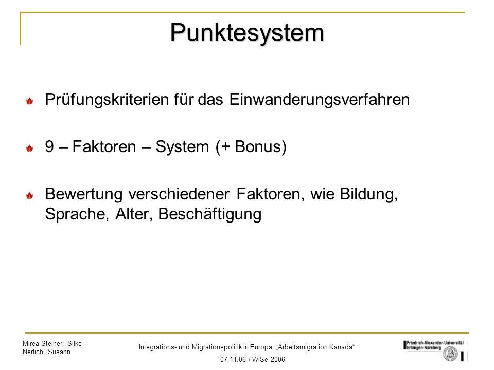 """Mirea-Steiner, Silke Nerlich, Susann Integrations- und Migrationspolitik in Europa: """"Arbeitsmigration Kanada"""" 07.11.06 / WiSe 2006 Punktesystem Prüfun"""