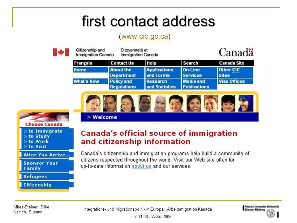 """Mirea-Steiner, Silke Nerlich, Susann Integrations- und Migrationspolitik in Europa: """"Arbeitsmigration Kanada"""" 07.11.06 / WiSe 2006 first contact addre"""
