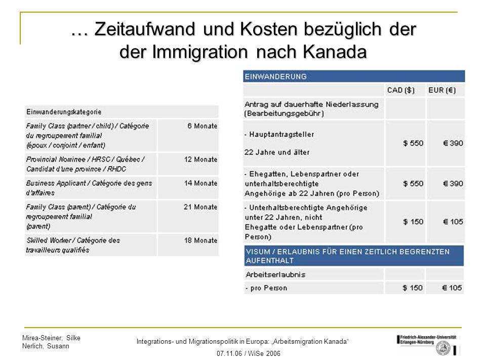 """Mirea-Steiner, Silke Nerlich, Susann Integrations- und Migrationspolitik in Europa: """"Arbeitsmigration Kanada"""" 07.11.06 / WiSe 2006 … Zeitaufwand und K"""