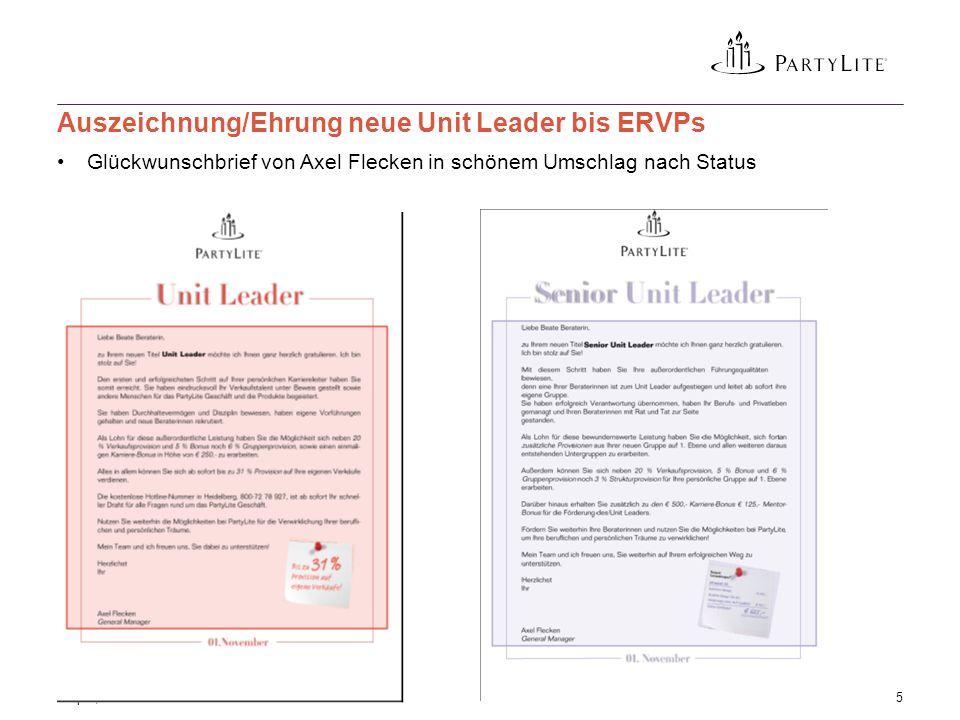Glückwunschbrief von Axel Flecken in schönem Umschlag nach Status 3 April, 20155 Auszeichnung/Ehrung neue Unit Leader bis ERVPs
