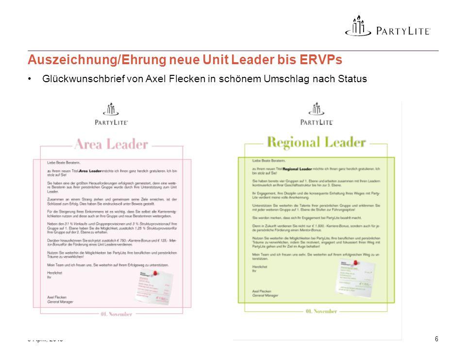 Glückwunschbrief von Axel Flecken in schönem Umschlag nach Status 3 April, 20156 Auszeichnung/Ehrung neue Unit Leader bis ERVPs
