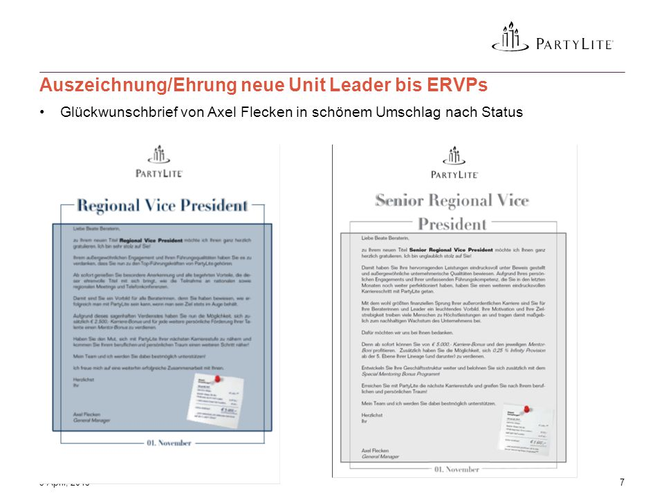 Glückwunschbrief von Axel Flecken in schönem Umschlag nach Status 3 April, 20157 Auszeichnung/Ehrung neue Unit Leader bis ERVPs